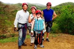 Sara and Ed Ruh, Richard and Erin Streitz enjoying the Costa Rica Zip Line before heading back to planning session.