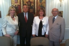 Debra Ruh, Axel Leblois, Francesca Cesa Bianchi, Ambassador Luis Gallegos of Ecuador after a G3ict board meeting in the Ecuador Embassy