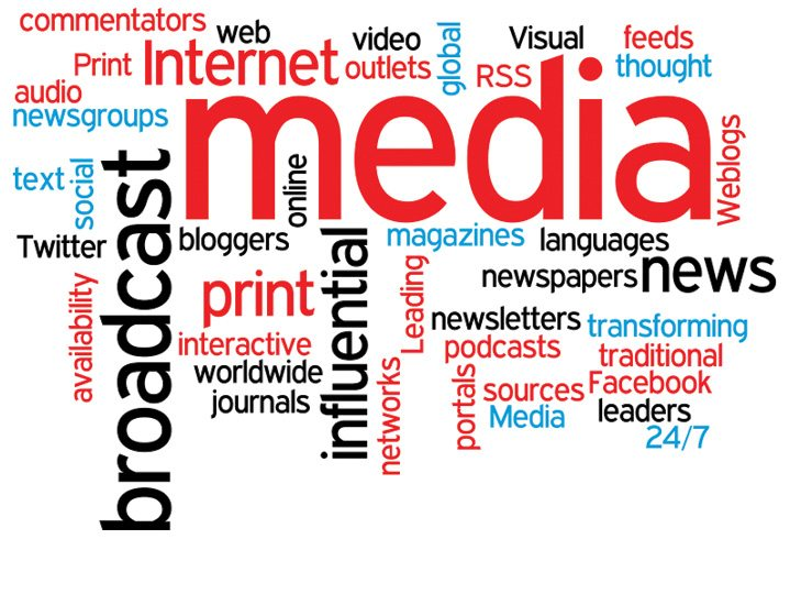 Graphic of Words having to do with Media types