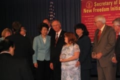 Debra and Sara Ruh awarded the Freedom Initiative Award of Excellence for TecAccess by Elaine Chao Department of Labor Secretary